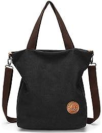 f4113e6253f56 JANSBEN Damen Canvas Handtasche Schultertasche Casual Multifunktionale  Umhängetaschen Groß für…
