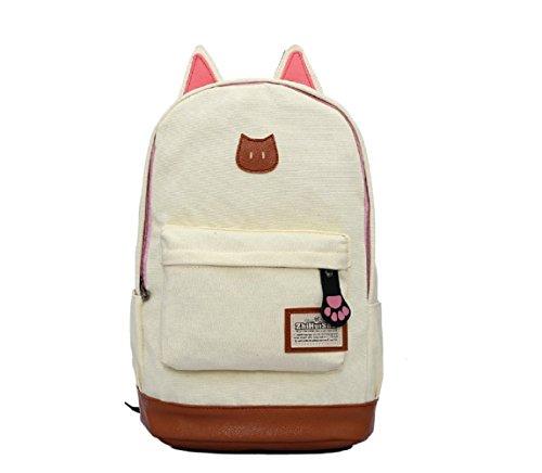 �ß Katze Ohre Design Canvas Rucksack Rucksäcke für Mädchen Schuler Kinder in der Schule mehrere Farben C5004 (Weiß) (Eule Sachen Für Mädchen)
