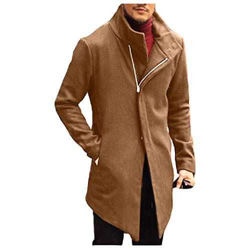 CuteRose Mens Stand Collar Classic Zipper Overcoat Trench Thermal Warm PEA Coat Khaki XS Wool Blend Trench
