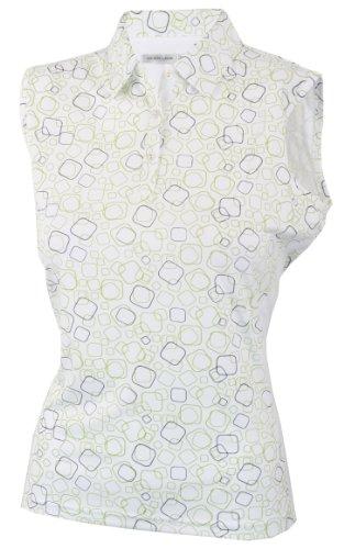 Green Lamb Polo sans manches pour femme Motif imprimé - Chartreuse/White