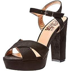 Refresh 69837, Zapatos de tacón con Punta Abierta para Mujer, Negro, 36 EU