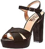 Refresh 69837, Zapatos de tacón con Punta Abierta para Mujer, Negro, 37 EU