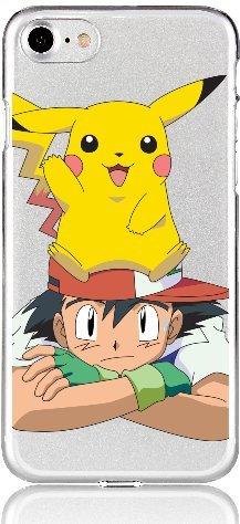Blitz® POKEMON motifs housse de protection transparent TPE caricature bande iPhone Shiggy, Bisasam, Glumanda iPhone 7 Pikachu auf Kopf