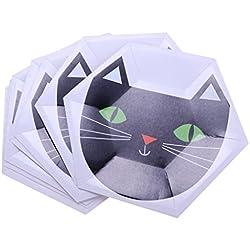 non-brand MagiDeal 8 Piezas Haloween Hexagon Paper Platos Fiiesta Vajilla Decoración DIY 10 Pulgadas - Gato, 10 Pulgadas