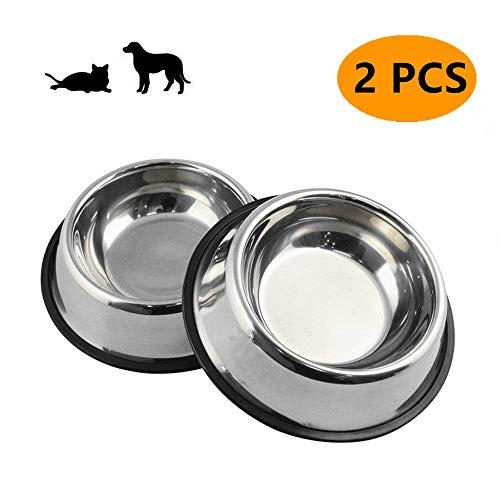 Kuiji Hundeschale aus Edelstahl,Gummibasis für Kleine und Mittlere Feeder für Haustier Hund Katze,Haustiere Feeder Bowl und Wasser Schüssel Perfekte Wahl (2er Set) (S) - 8.5 Unze Set