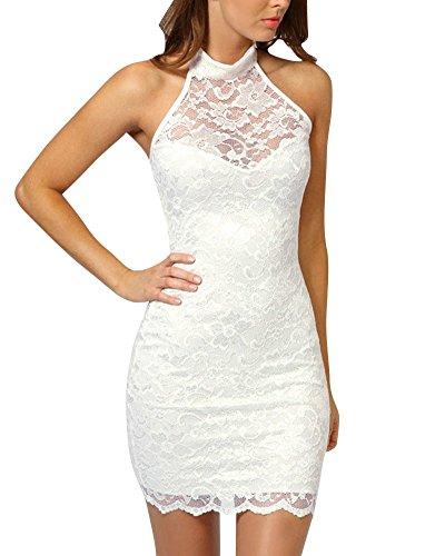 SaiDeng Vestido Corto Casual Verano Vestido Corto De Encaje Clubwear Caliente Para Fiestas Club Para Mujeres M Blanco