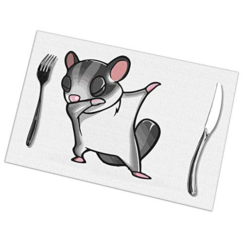 Aeykis Dabbing Sugar Glider Print Placemats Heat Insulation Non-Slip Wrinkle-Free Table Mats for Kitchen Dining Table Decoration Mats(6) 12
