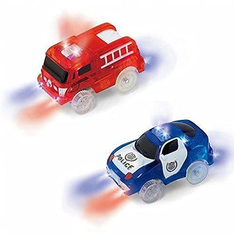 MIGE Auto Spur Polizei Einsatzwagen und Feuerwehrauto Electric Auto Leuchten im Dunkeln mit Magic Tracks für Kinder 3 Jahre und Bis Packung von 2 (rot + (Familie Halloween-kostüme Mit Baby)