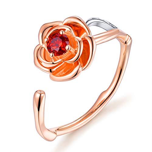 FOREVER QUEEN Damen Rose Blumen Ring für Frauen 18K Rose vergoldet verstellbare offene Wrap Ring romantisches Geschenk für sie, Ringgröße 7 FQ0046