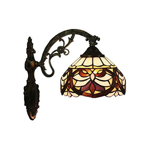 Tiffany Wandleuchten Europäischen Barock Tiffany Leuchte Schlafzimmer Licht Traditionell Spiegel Vorne Licht Retro Badleuchte Farbe Glas Lampeschirm Wandlampe für Foyer Flur -