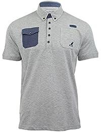 "Kangol - ""Zellor"" Polo T-Shirt Homme Jersey Manche Courte Col Boutonné"