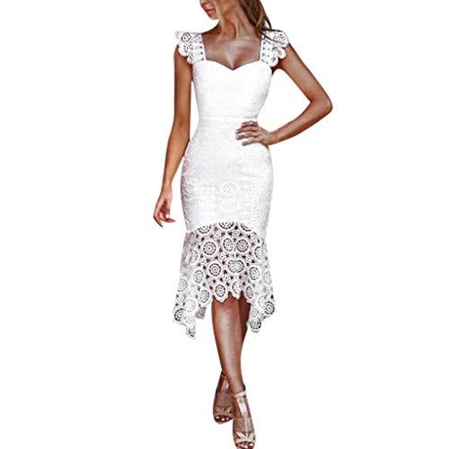 Elegant Vintage Schöne Kleider Damen Festliche Sommer Spitze Knielang Abend Abschlussball Rückenfrei A Linien Partykleid Cocktailkleid...