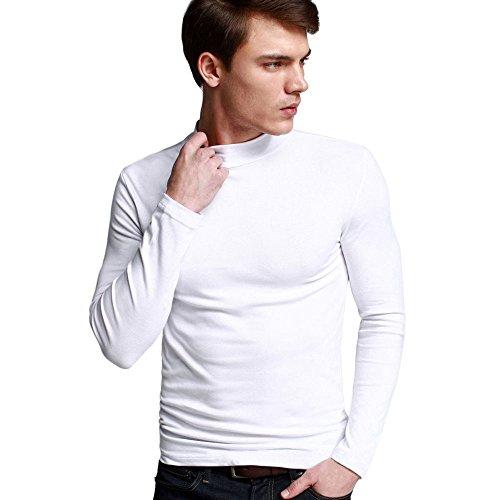 OCHENTA Herren Langarmshirt Rollkragen Slim Fit Freizeit T-Shirts Weiß Asien 3XL (EU XL) (Jersey Blouson Top)