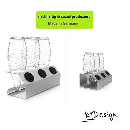 ktDesign Premium SodaStream Abtropfhalter aus Edelstahl für 3 Flaschen - SodaStream Flaschenhalter mit Abtropfboden und Deckelhalterung für SodaStream Crystal, Emil- und Glasflaschen, Made in Germany