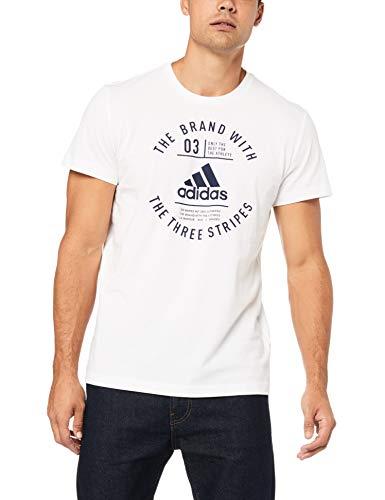 Adidas emblem, t-shirt uomo, white, l