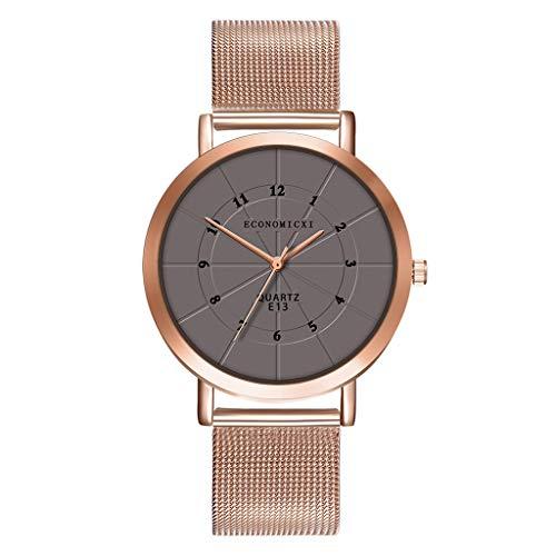 XZDCDJ Damen Uhr Armbanduhr Damenuhren Frauen-Mädchen-Luxusuhren-Edelstahl-analoge Quarz-Armband-Armbanduhr A74 Grau