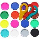SchwabMarken 50 Einkaufswagenchips EKW Pfandmarken Wertmarken Farbe Bunt gemischt, Randmarken + 3 Chiphalter für Schlüsselbund