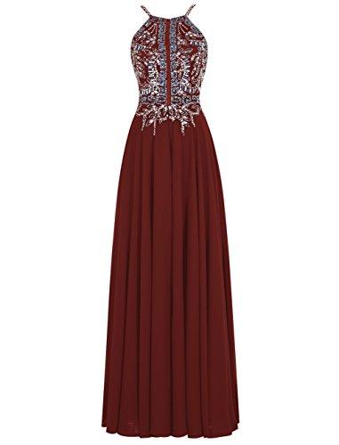 Dresstells, Robe de soirée Robe de cérémonie Robe de gala emperlée dos nu bretelles spaghetti Bordeaux