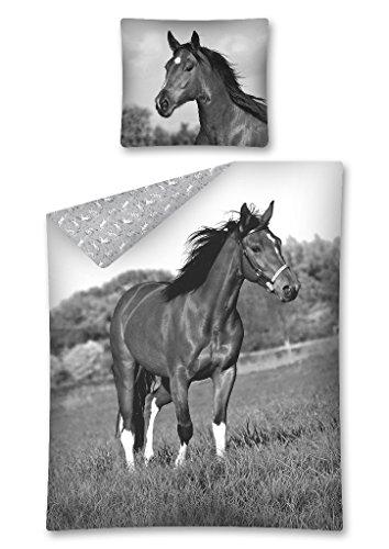 DP Bettwäsche mit Pferdemotiv, Pferde Wendebettwäsche 100 % Baumwolle, Größe: 140 x 200 cm, 70 x 80 cm