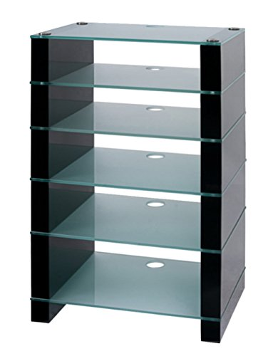 HiFi Soporte, Hi-Fi rack, soporte de audio AV. Negro Brillante con seis estantes de cristal grabado