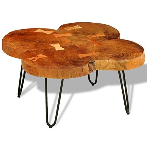 Mesa de centro de cuatro rodajas de tronco de árbol