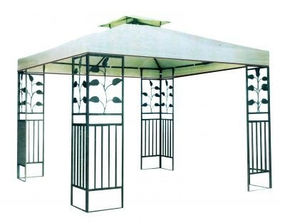 Pavillon mit Metallgestell - Gartenpavillon Beige/Dunkelbraun