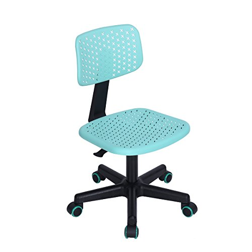 Aingoo Children Desk Chair Armless Adjustable Swivel Computer Task Chair for Kids Study,Turquoise,48 X 57 X 89-99CM