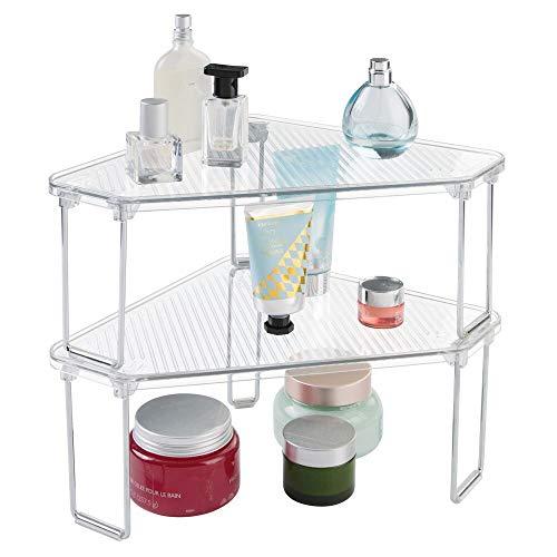 mDesign Set da 2 Mensole ad angolo da appoggio - Organizzatore trucchi e accessori - Portaoggetti da bagno in plastica di qualità - Due ripiani ciascuno - trasparente