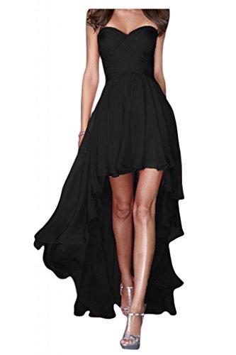 Gorgeous Bride Fashion Traegerlos Hi-Lo Chiffon Lang Abendkleider Festkleider Ballkleider -42 Schwarz