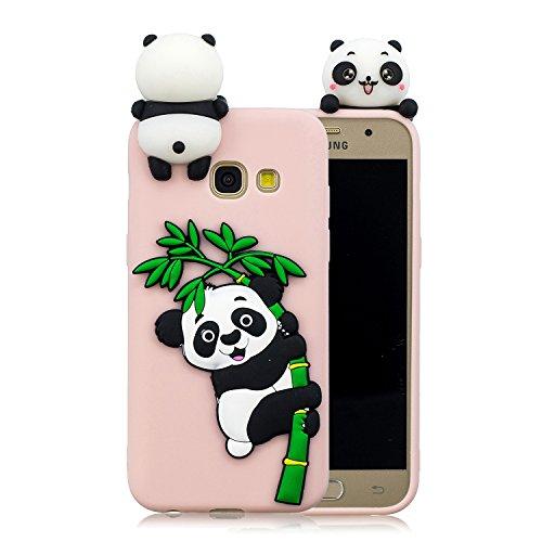 Everainy Kompatibel für Samsung Galaxy A3 2017 Silikon Hülle Neu 3D Panda Muster Ultradünn Hüllen Handyhülle Gummi für Galaxy A3 2017 Schutzhülle Stoßfest TPU Gel Stoßstange Cover (Rosa 1)