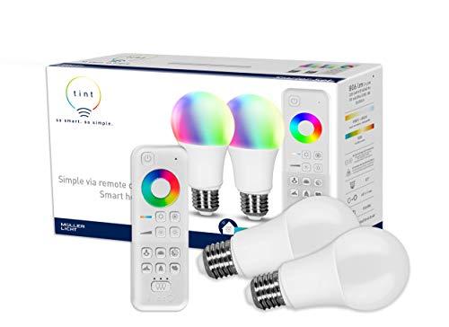 tint von Müller-Licht Smartes Starter 2er-Set: 2 x LED Lampe E27, Birnenform, white-color (Weißtöne und farbiges Licht), dimmbar, Zigbee, funktioniert mit Alexa, inkl. Fernbedienung