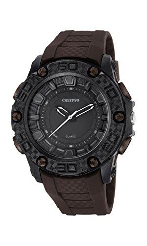 Calypso–Reloj de hombre de cuarzo con Negro esfera analógica pantalla y correa de plástico de color marrón k5699/4