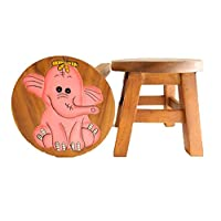 Thai Gifts Childrens Wooden Stool - Pink Elephant Design