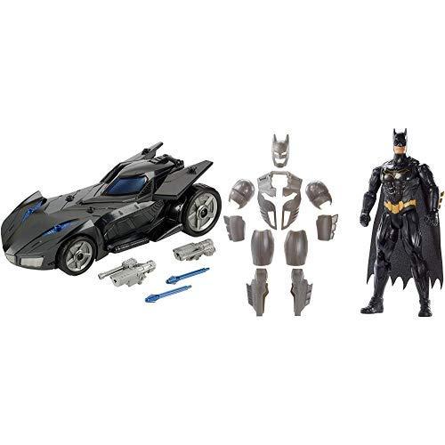 Mattel FVM60 DC Batman Batmobil, mit Abschussvorrichtung &  FYY22 - DC Batman Deluxe Figur mit Geräuschen 30 cm - Batman Arkham City Robin Kostüm