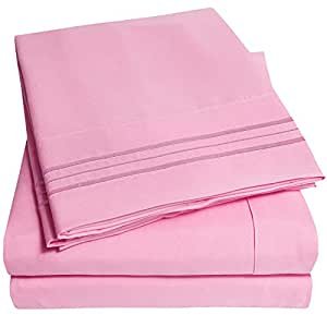 1500 Supreme Collection Bed Sheets Bed Sheet Set & Lowest Price, Since 2012 - Deep Pocket Wrinkle Free Hypoallergenic Bedding - Over 40+ Colors - 4 Piece, King, Pink