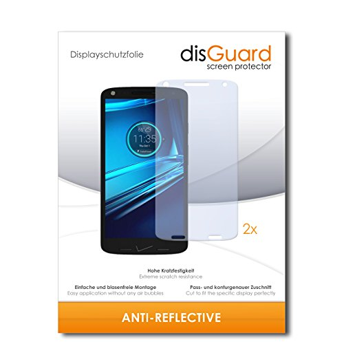 disGuard® Displayschutzfolie [Anti-Reflex] kompatibel mit Motorola Droid Turbo 2 [2 Stück] Entspiegelnd, Matt, Antireflektierend, Extrem Kratzfest, Anti-Fingerabdruck - Panzerglas Folie, Schutzfolie