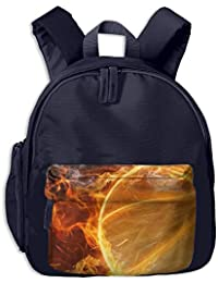 Flaming Basketball Sport Print Childrens Fashion Backpack School Bookbag 3.9 X 10.6 X 12.5 Inch