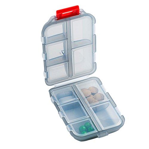 ULTNICE Tablettenbox Pillendose mit 10 Fächern Doppelschicht für Reise Urlaub (Grau)