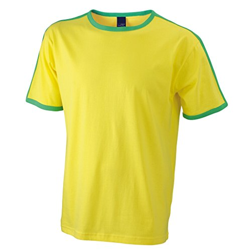 JAMES & NICHOLSON T-Shirt mit Kontraststreifen yellow/frog