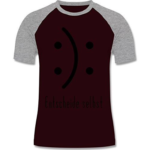 Symbole - Entscheide selbst Smile - zweifarbiges Baseballshirt für Männer Burgundrot/Grau meliert