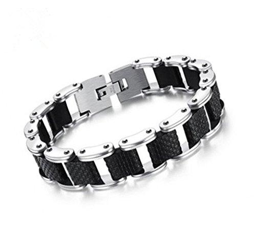 LF Herren Edelstahl Silikon Armband Motorrad Kette Cool Link Armband für Ehemann Freund Papa für Geburtstag Valentine Väter Day Geschenk -