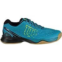 Wilson Homme Chaussures de Tennis, Idéal pour les joueurs offensifs, Pour les terrains intérieurs, KAOS INDOOR, Tissu Synthétique, Bleu (Enamel Blue/Black/Safety Yellow)