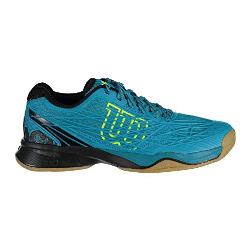 Wilson Herren Tennisschuhe Kaos Indoor, Offensives Spiel, Indoor, Synthetik, Türkis/Schwarz/Gelb (Enamel Blue/Black/Safety Yellow), Größe: 42 2/3