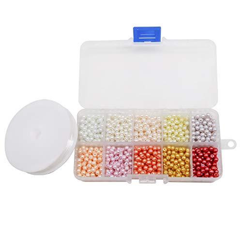 TOAOB 1000 Stück 4mm Glasperlen Runde Mehrfarbig Perlen mit Box und Elastisch Schmuckfaden Faden für Schmuckherstellung -