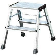Krause 130037 - Escabel plegable (aluminio, 2 peldaños a cada lado, fijación de seguridad automática)