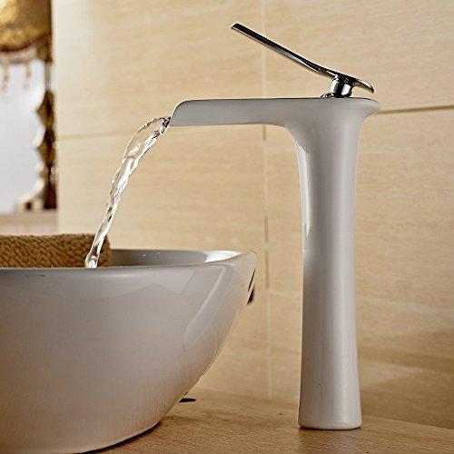Beelee Wasserhahn Armatur Einhebel- Mischbatterie Waschtischarmatur Wasserfall Einhandmischer Gegrillte weiße Farbe für Bad Badenzimmer Waschbecken (Badewanne Wasserfall Wasserhahn)