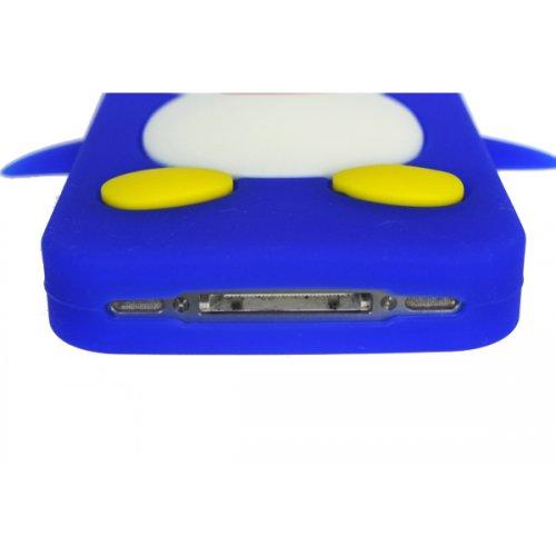 OBiDi - 3D Manchot Coque en Silicone / Housse pour Apple iPhone 4S / Apple iPhone 4 - Blanc avec 3 Film de Protection et Stylet Bleu
