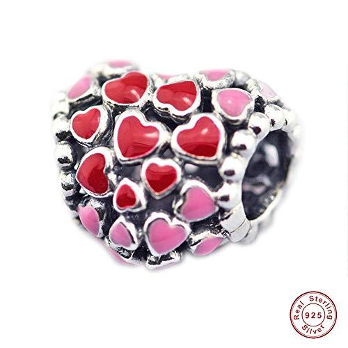 Mocci scoppio di san valentino di amore cuore autentico 925 argento fai da te adatta per originale pandora bracciali moda gioielli di fascino