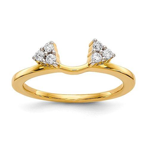 Diamond2Deal Damen-Ringschutz 14 Karat (585) Gelbgold Solitär Diamant (0,15 Karat, H-SI2) -