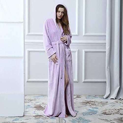 Purple Robe Hooded Kostüm - SHANGXIAN Herbst Winter Kimono Bademantel Hooded Nachtwäsche Paar Korallenvlies Weich warm atmungsaktiv Zuhause Nachthemd Loungewear,Purple(Female),XL
